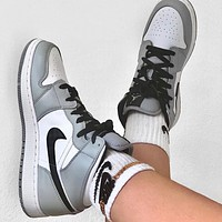 Nike Air Jordan 1 AJ1 Mid Smoke Grey Basketball Sneakers Shoes