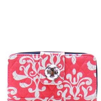 Quilted Wallet Damask Print - 2 Color Choices
