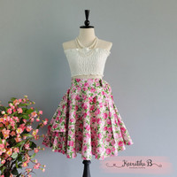 Spring's Whisper Floral Skirt Spring Summer Sweet Pink Green Floral Skirt Party Cocktail Skirt Wedding Bridesmaid Skirt Pink Floral Skirts