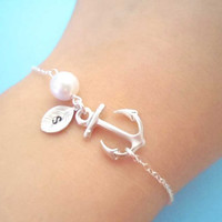 PERSONALIZED INITIAL Anchor Bracelet -Cute, Silver Anchor, Pearl, Initial leaf, Bracelet