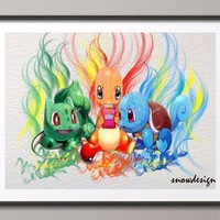 Original Squirtle Bulbasaur Charmander  Watercolor wall art canvas painting Anime Manga poster print Pictures Home DecorKawaii Pokemon go  AT_89_9