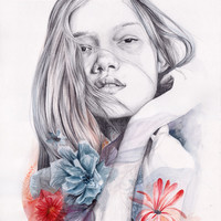 Girl with watercolor flowers, cool colors, naranjalidad, illustration