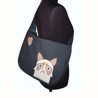 Bike messenger bag with applicated Grumpy cat