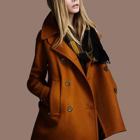 Brown twill Wool coat double breasted button  Coat Jacket  Autumn winter coat  cloak dy17 S-XL