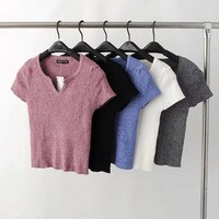 Popular Fashionable Knit Sexy Slim V Neck T-shirt Crop Top bare Midriff Shirt b2328