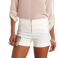 Ruched Zip-Up High-Waisted Shorts by Charlotte Russe - Ivory