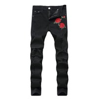 QMGOOD Men Black Skinny Jeans Plus Size Ripped Jeans Men Vintage Fashion Embroidery Mens Denim Stretch Jeans Men Clothes 2018