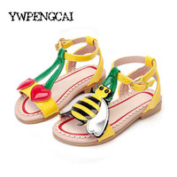 Animals Pattern Children Cute Beach Shoes Girls Princess Ankle Rome Gladiator Sandals Size 21-35