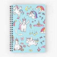 'Natalias Unicorns Blue' Spiral Notebook by DoucetteDesigns