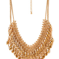 FOREVER 21 Fringed Chain Necklace Gold One