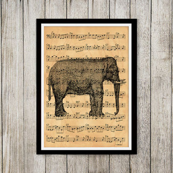 Elephant decor Animal poster Music notes print Old paper print NP137