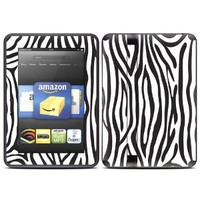 """Kindle Fire HD (fits 7"""" only) Skin Kit/Decal - Zebra"""