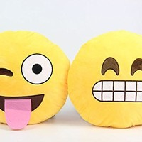 2 Pieces of Yellow Laughing Teeth and Tongue Out Emoji Smiley Round Emoticon Shape Pillow for Christmas Home Car Seat Decorative Chair Outdoor Bed