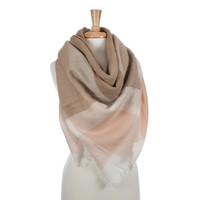 Taupe, Pink and White Blanket Scarf