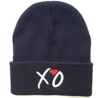 Hip-Hop Fashion XO Beanies Hats  wool winter Cotton knitted warm caps Snapback hat for man and women (Color: Black)