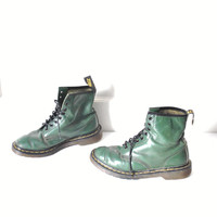 size 8 green DOC marten boots / early 90s GRUNGE lace up MILITARY style docs dm ankle boots