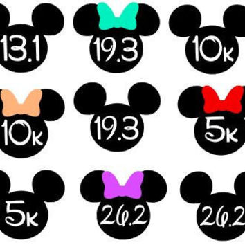 Disney Race Distance Decal - Mickey Or Minnie - One Or Two Colors - Glitter - Perfect for Magic Bands - Yeti - Cars - Laptops and More!