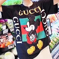 GUCCI x Disney Women Men Mickey Mouse Print Short Sleeve T-Shirt Top