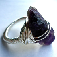 Raw amethyst silver ring - size 9 1/2 ring - wrapped ring - Unisex ring - natural stone ring - cocktail ring - purple crystal ring