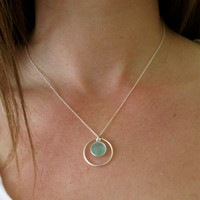 Silver Pendant Circle Gemstone Necklace