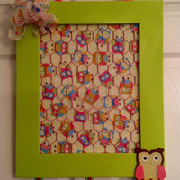 Upcycled Hoot owl bow jewelry photo holder organizer bulletin board in lime green, pink, baby blue, turquoise, yellow, brown polka dots