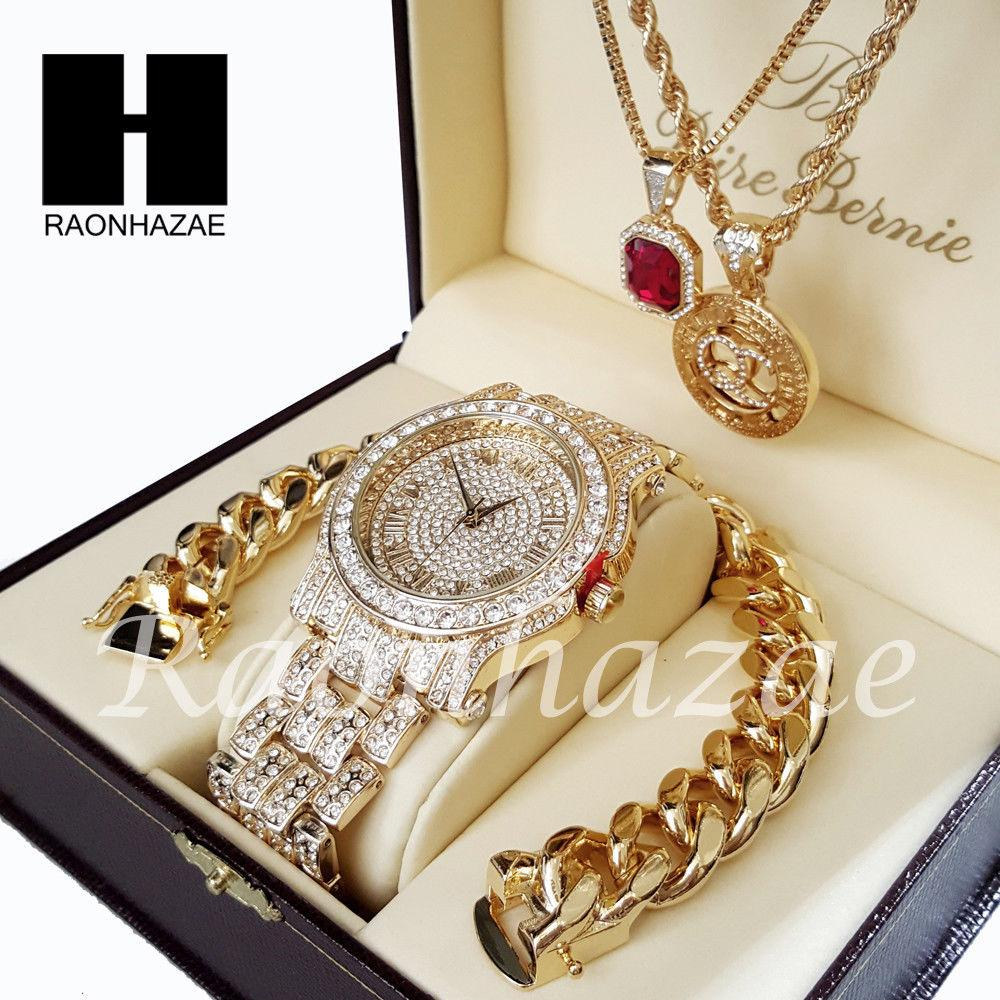 Image of Gold PT Simulated Diamond Pave Watch Ruby QC Chain Cuban Bracelet Set O