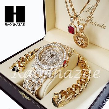 Gold PT Simulated Diamond Pave Watch Ruby QC Chain Cuban Bracelet Set O
