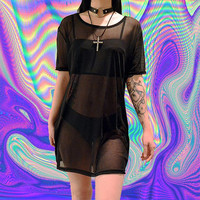 sheer mesh tshirt black tumblr fashion oversized mesh mini dress shirt club kid vintage 90s soft grunge cyber goth