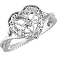 Sterling Silver Genuine Diamond Heart Crossed Band Filigree Ring