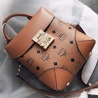 MCM New fashion more letter leather shopping and leisure shoulder bag crossbody bag handbag Brown