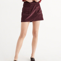 STUDDED VELVET MINI SKIRT