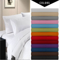 Deep Pocket 4 Piece Bed Sheet Set,solid bedding set,Include Flat sheet,fitted sheet,pillowcase.super king/queen/twin/full size
