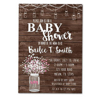 Country Baby Shower Invitations - Mason Jar Baby Shower Invitation - Rustic Wood Baby Shower - Neutral Baby Shower - Girl Boy Floral Sweet