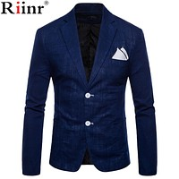 Spring and Autumn Large Size Men's Casual Flow of Pure Color Blazers Men High Quality Gentleman Men Slim Casual White Suit