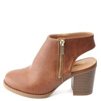 Slingback Side-Zip Chunky Heel Ankle Boots by Charlotte Russe - Tan