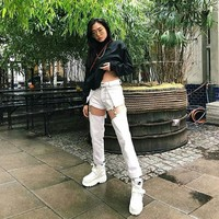 White Buckle Off Pants