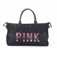 Sports gym bag Designer Metal Sequins letters Gym Bag Shoulder Crossbody Fitness  Women Tote Handbag Travel Duffle Bolsa KO_5_1