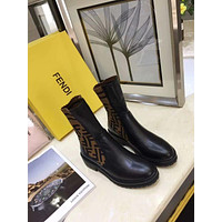 FENDI  Trending Women's Black Leather Side Zip Lace-up Ankle Boots Shoes High Boots
