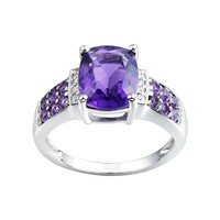 Amethyst & Diamond Accent Sterling Silver Ring (Purple)