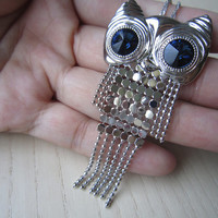 Beautiful crystal blue eyes, silver motor owls, especially owls,  sequins, tassels, personality, fashion,sweater necklace,  special gift