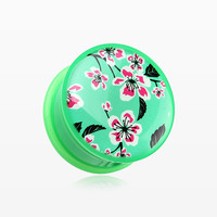 zzz-A Pair of Hibiscus Flower Single Flared Ear Gauge Plug
