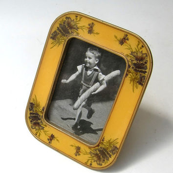 Vintage Bucklers of 5th avenue yellow enamel brass photo frame with cornflowers