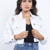 Brighter Days Distressed Crop Denim Jacket