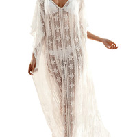White Floral Lace Maxi Boho Beach Cover Up Maxi Dress