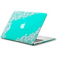 """Kuzy - AIR 13-inch Lace TEAL Hot BLUE Rubberized Hard Case for MacBook Air 13.3"""" (A1466 & A1369) (NEWEST VERSION) Shell Cover - Lace TEAL"""