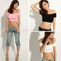 New Fashion Summer Women's Black White Sexy Crop Top Tees Women Tank Tops One Size 3846|26601 (Color: Black) = 1745552900