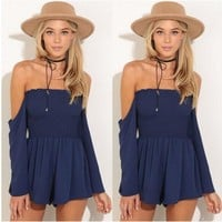 One-nice™ Long Sleeve Off the Shoulder Pleated Romper Jumpsuit