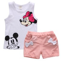 Pudcoco Baby Girl Summer Clothes Set 2 Piece Set Cartoon Minnie Mouse 2-4T Baby Kids Clothes Vest Top + Shorts Tracksuit Outfits