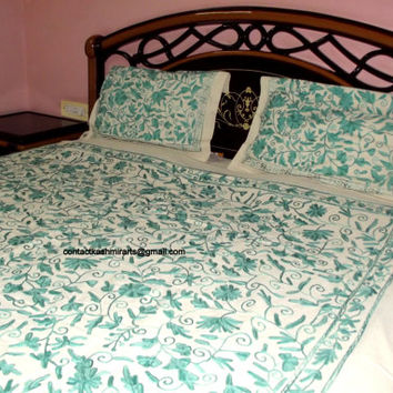 Embroidered Bedspread / Indian Bedding / Embroidered Bed Cover/ Indian Duvet Cover/Embroidered Duvet Cover/Embroidered Bedding/Free Shipping