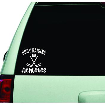 Busy Raising Athletes Hockey Wall Decal Car Truck Window Windshield JDM Sticker Vinyl Lettering Quote Boy Girl Funny Mom Dad Baby Kids Sports Ice Skate Winter